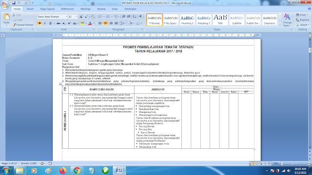 Contoh Promes PJOK Kelas 6 SD Semester 2 Kurikulum 2013 Revisi Terbaru