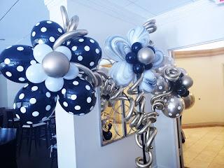 Polka dots balloon flowers and chrome balloons