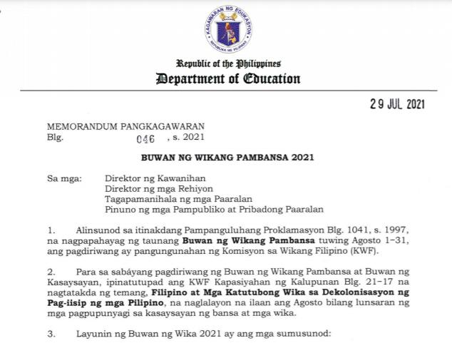 DepEd DM No.046   Mungkahing mga Gawain sa Buwan ng Wikang Pambansa 2021   Read and Download Here