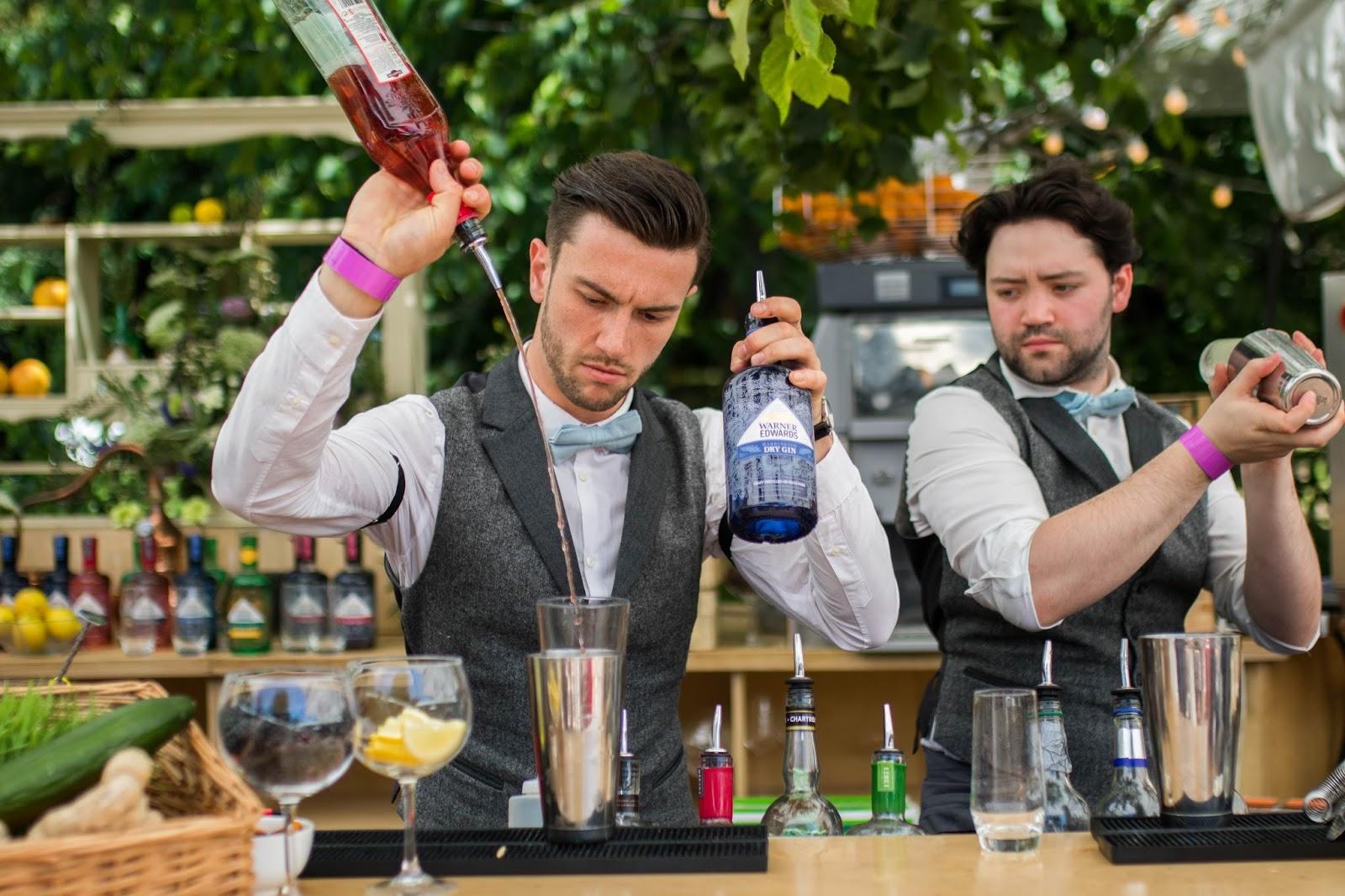 Bar tenders cocktail bar at Jardin Blanc, Chelsea Flower Show 2017