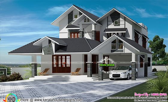 306 square meter sloping roof home