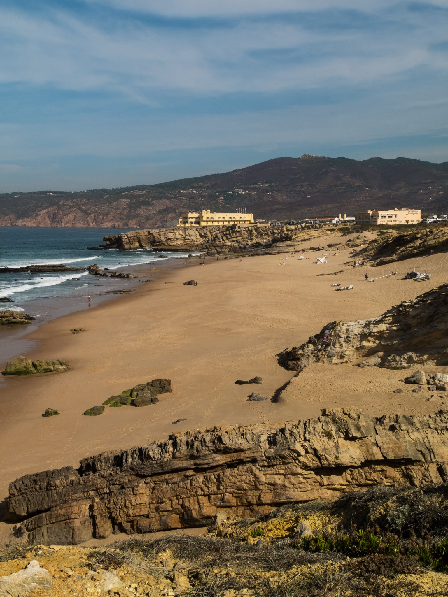 Rocky and sandy Praia da Guincho in Portugal.