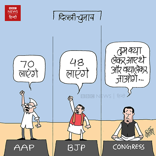 cartoons on politics, indian political cartoon, cartoonist kirtish bhatt, Delhi election, AAP party cartoon, aam aadmi party cartoon, bjp cartoon, congress cartoon