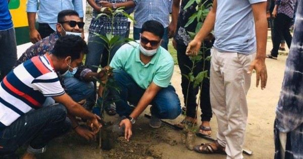 Chhatra League planted trees in Sherpur in the year of Mujib
