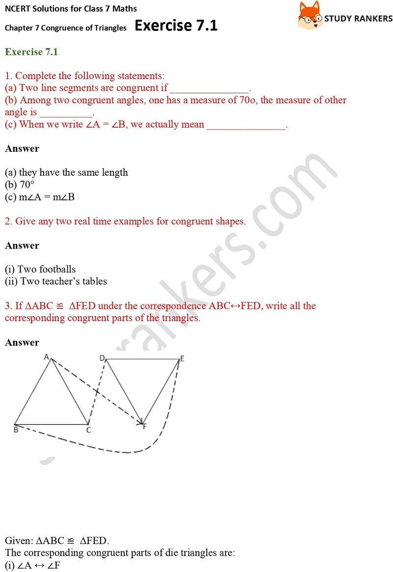 NCERT Solutions for Class 7 Maths Ch 7 Congruence of Triangles Exercise 7.1 1