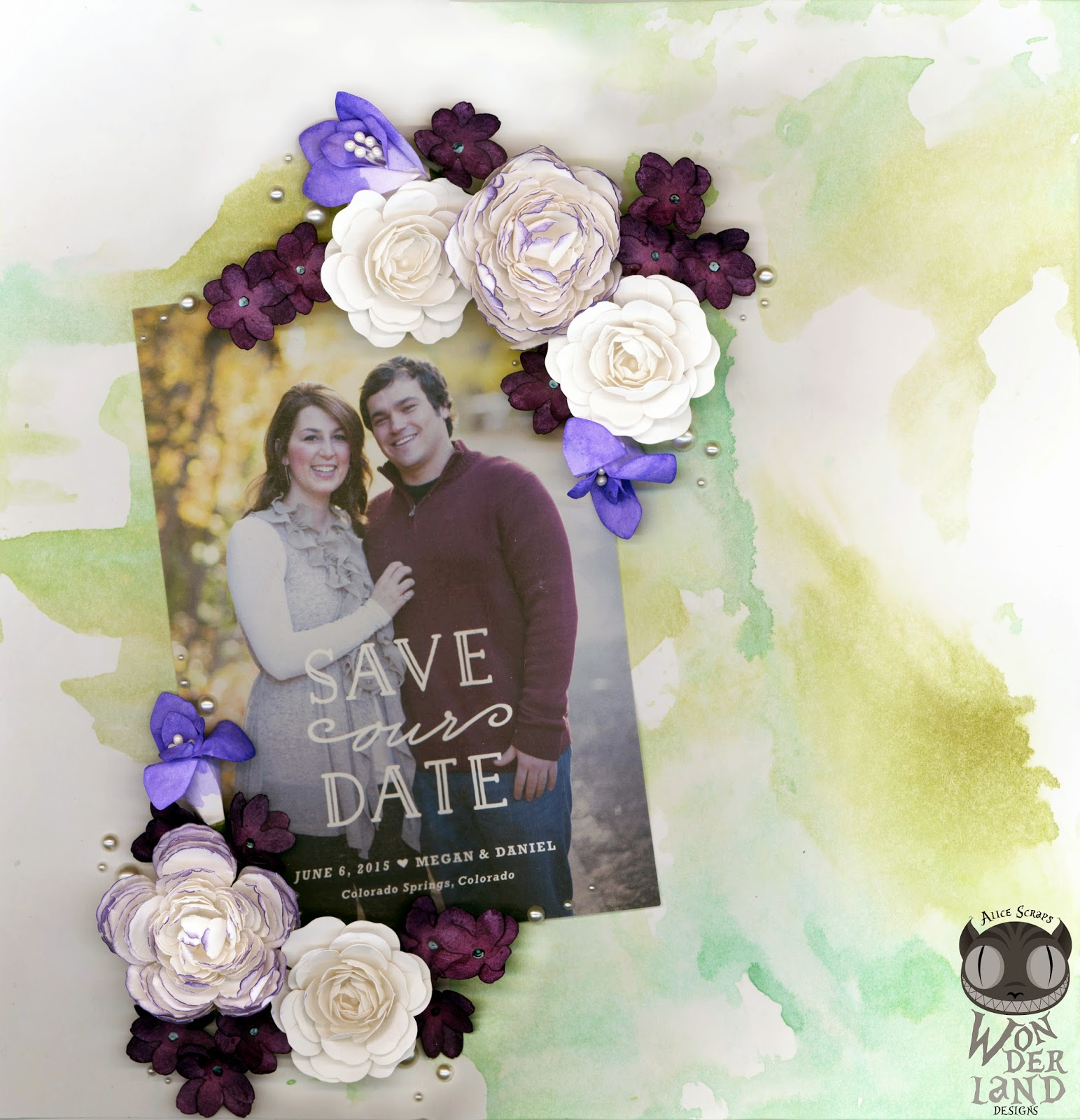 Bridal Shower Layout Gift by Alice Scraps Wonderland | Handmade flowers really add to the personalization of this scrapbook layout.