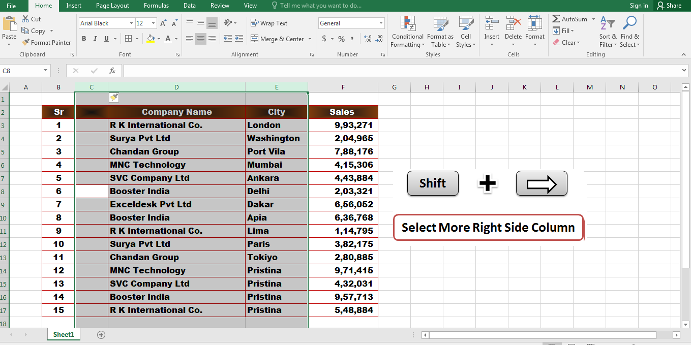 5 Important Excel Shortcut Keys That Make You An Expert In MS Excel Select,Shift + Right Arrow