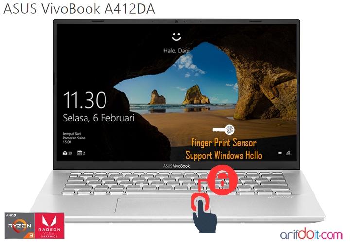 Windows hello mendukung fingerprint sensor pada ASUS A412DA