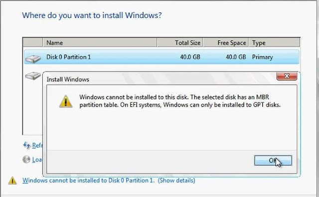 """Sửa lỗi """"windows cannot be installed to this disk..."""" với windows 10"""