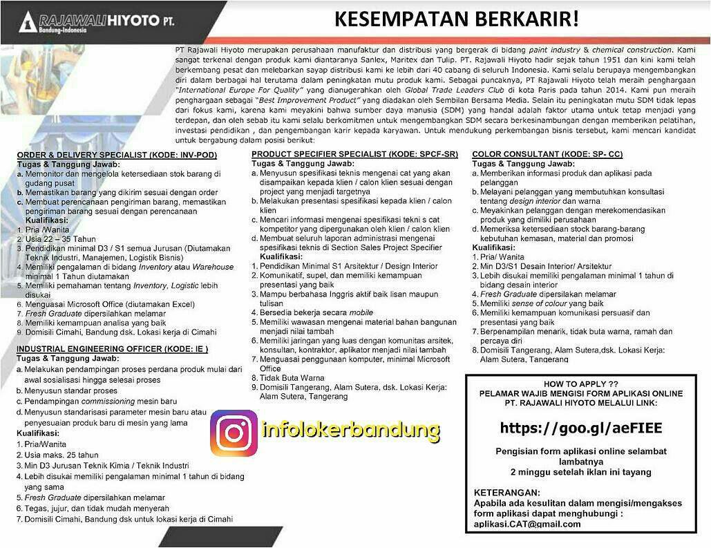 Lowongan Kerja PT. Rajawali Hiyoto Bandung Mei 2017