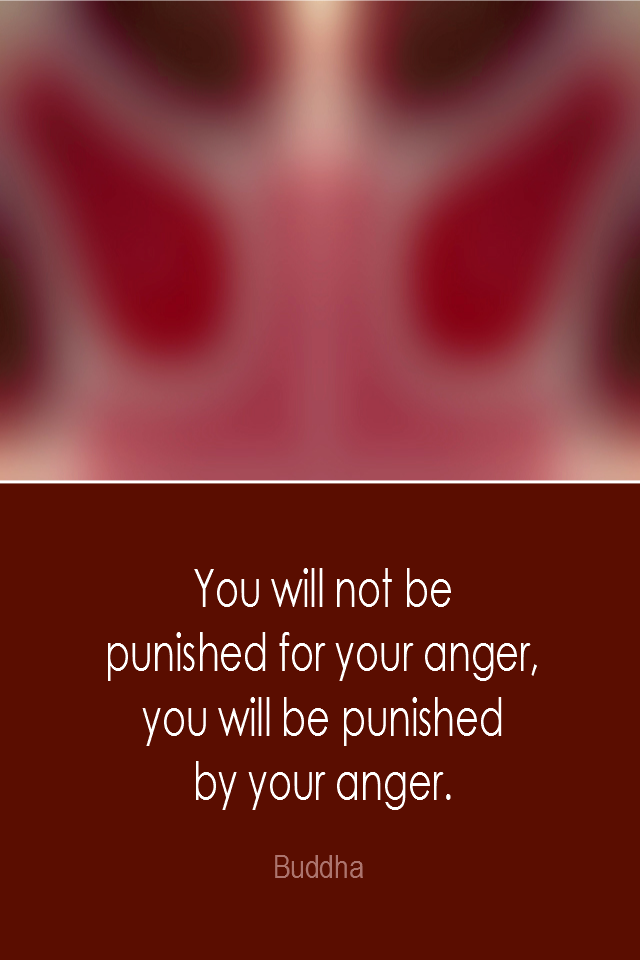visual quote - image quotation: You will not be punished for your anger, you will be punished by your anger. - Buddha