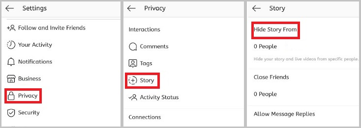 Hide Story from Instagram Settings
