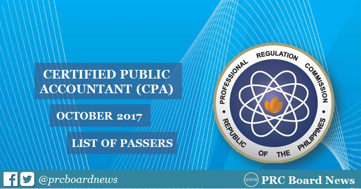 OFFICIAL RESULTS: October 2017 CPA board exam list of passers