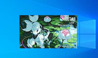 Gambar loading aplikasi Krita di laptop/pc