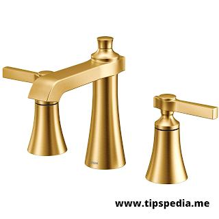 gold bathroom faucet widespread