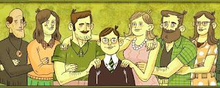 #PraCegoVer: Ilustração de uma família poliamorosa, com uma criança ao centro, e seis adultos ao redor, seus pais responsáveis.