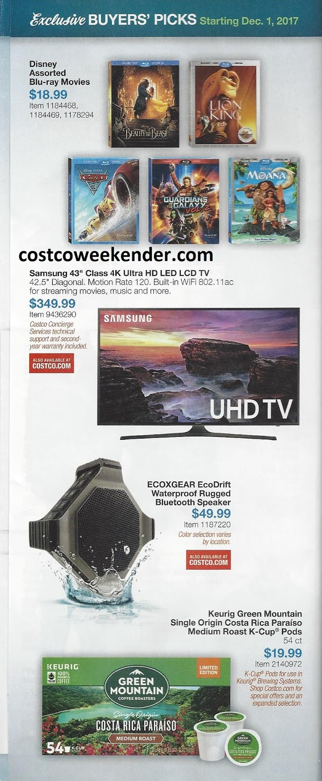 Current Costco Coupon Book December 2017 Costco Weekender