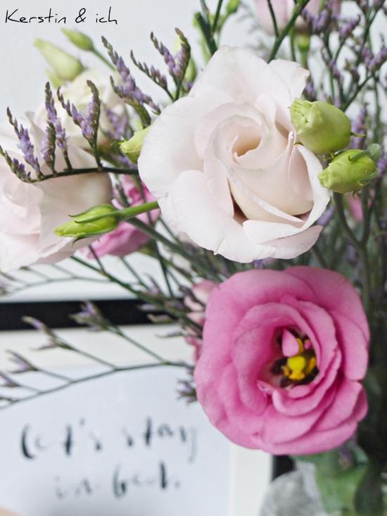 Großaufnahme Blumenstrauß Japanrosen und Strandflieder Typo-Print im Hintergrund