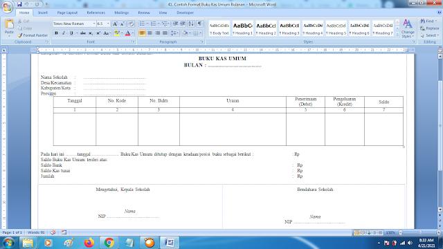 Contoh Format Buku Kas Umum Bulanan doc