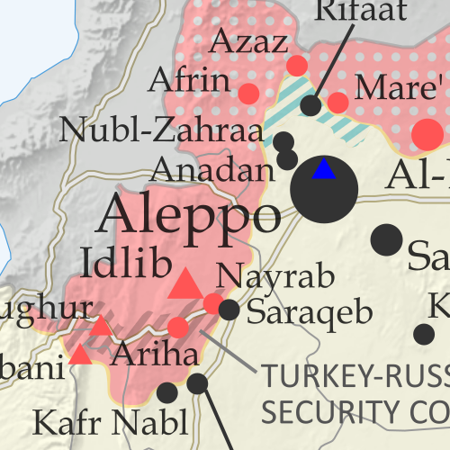 Map of Syrian Civil War (Syria control map): Territorial control in Syria in March 2020 (Free Syrian Army rebels, Kurdish YPG, Syrian Democratic Forces (SDF), Hayat Tahrir al-Sham (HTS / Al-Nusra Front), Islamic State (ISIS/ISIL), and others). Includes Turkish/TFSA control, joint SDF-Assad control, US deconfliction zone, and Turkey-Russia security corridor, plus recent locations of conflict and territorial control changes, including Kafr Nabl, Nayrab, Anadan, Al Sanamayn, and more. Colorblind accessible.