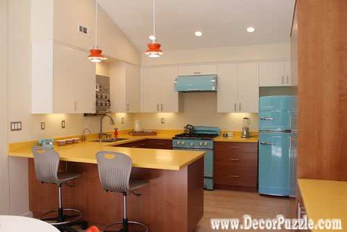 mid century modern kitchen cabinets, U-shaped kitchen design