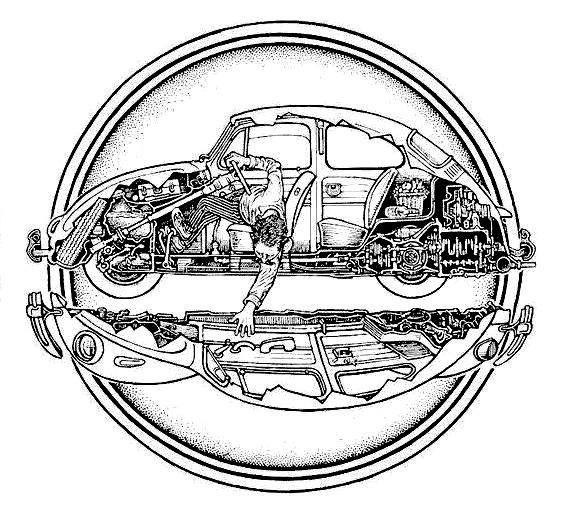 1968 volkswagen beetle Diagrama del motor