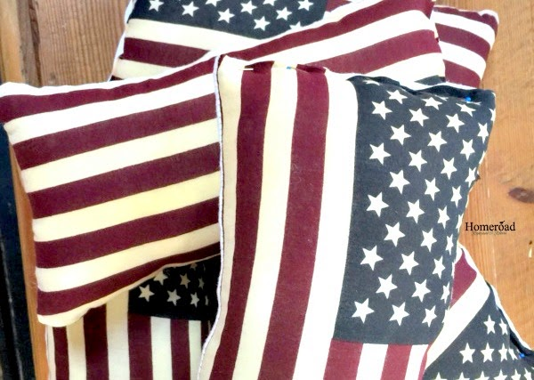 Pile of American flag pillows