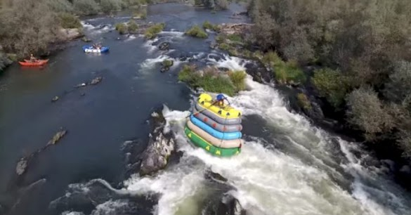 He Didn't Just Stack A Bunch Of Rafts To Move Them. Watch What He Does In The Water.