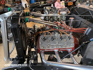 Engine shot of Ford Flathead V8 on the 1934 FOrd race car that was rescued from Alabama woods.