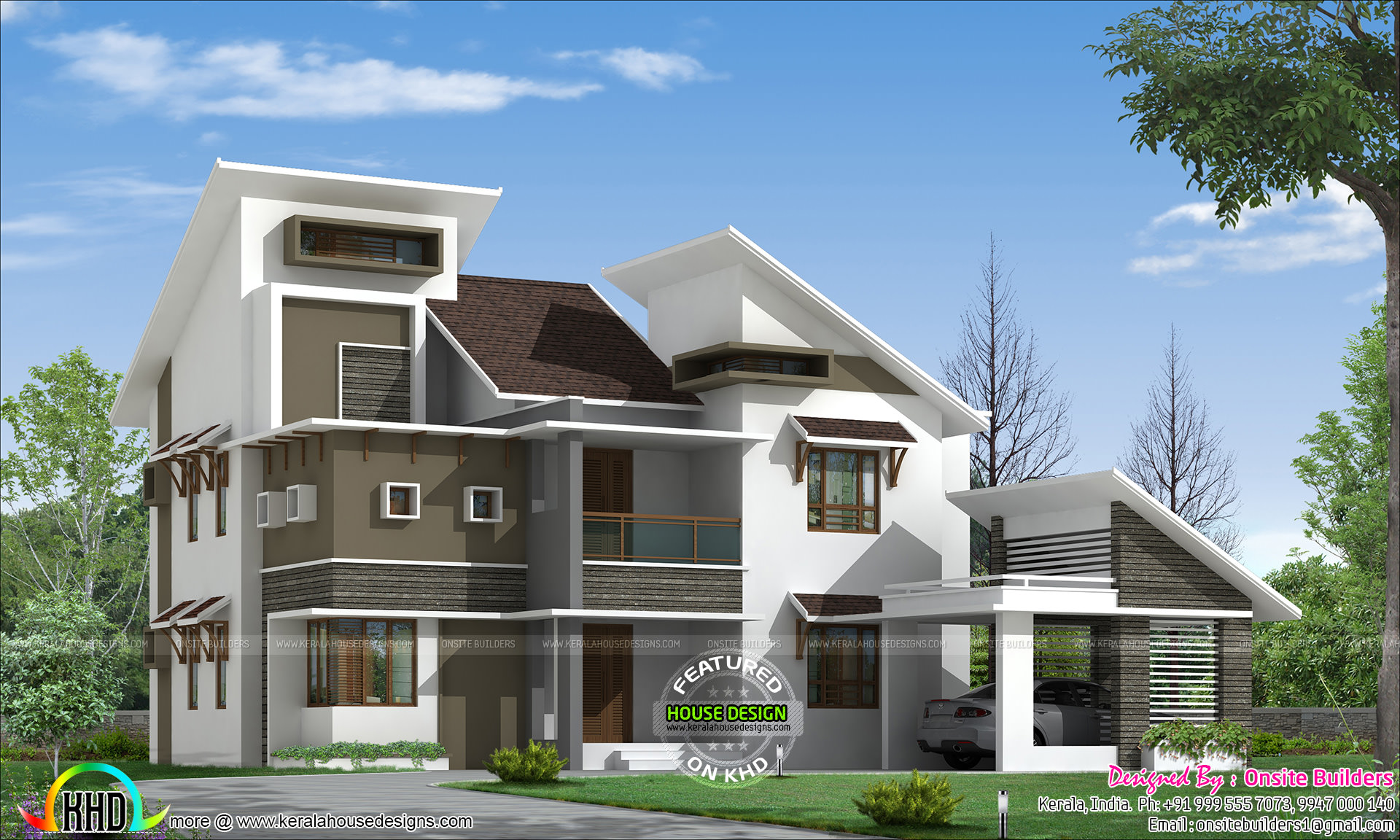 Slanting roof style modern home kerala home design and for Contemporary roof