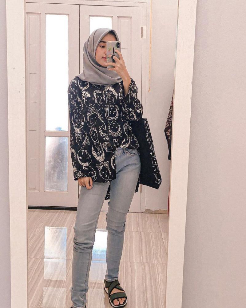 OOTD cantik dan manis pakai Celana Jenas HIjab