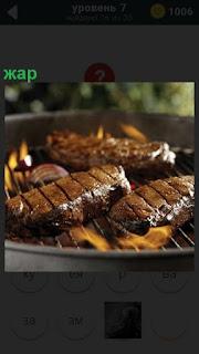 Приготовление на барбекю мяса на костре с необходимым жаром