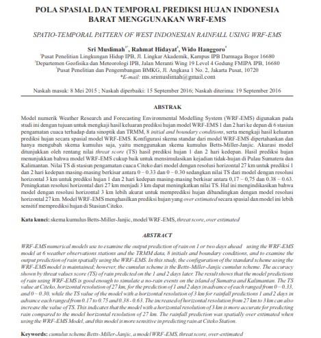 Pola Spasial Dan Temporal Prediksi Hujan Indonesia Barat Menggunakan Wrf-Ems [PAPER]