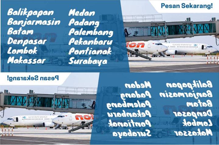 banner 12 rute penerbangan bandara kertajati