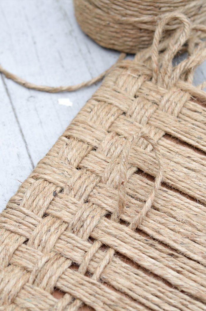 Jute twine woven in basket weave pattern
