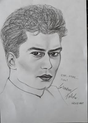 Desenho a lápis em homenagem ao cantor e compositor Luigi Tenco. Por Carmem Toledo.