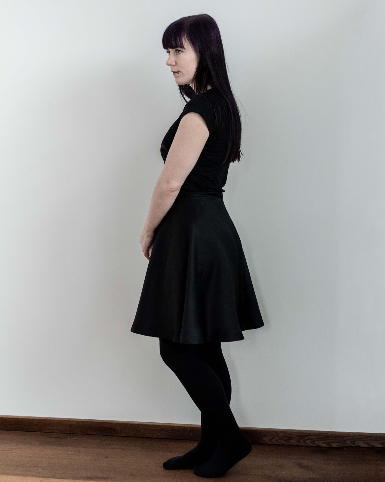 half circle skirt sewing Minn's Things calculator self drafted handmade diy free side view