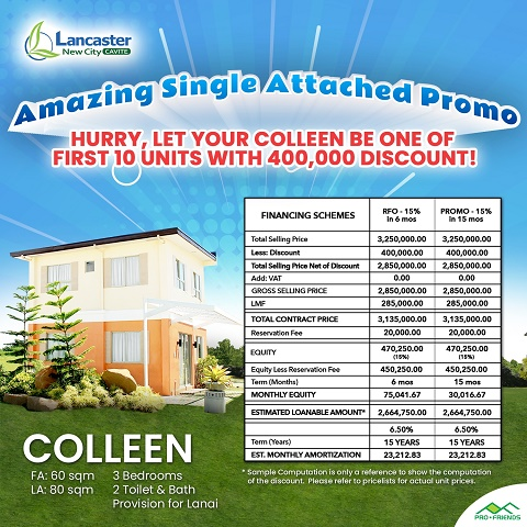 Lancaster New City Single Attached Homes amazing discounts promo