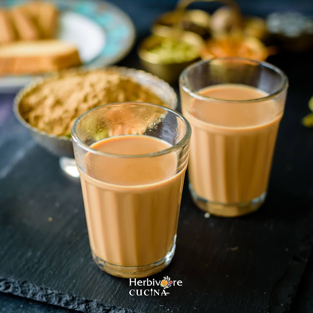 Two cutting glasses of Indian Masala Chai
