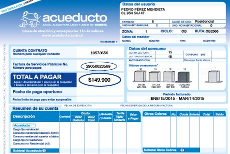 Factura Acueducto de Bogota Pago en Linea PSE