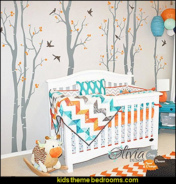 Birch Tree Vinyl Wall Decals with Birds Stickers