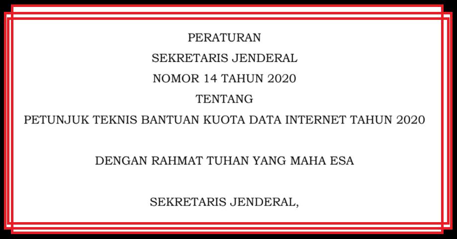 gambar Juknis Bantuan Kuota Internet dari Kemendikbud