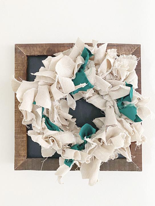 rag wreath on wreath hanger