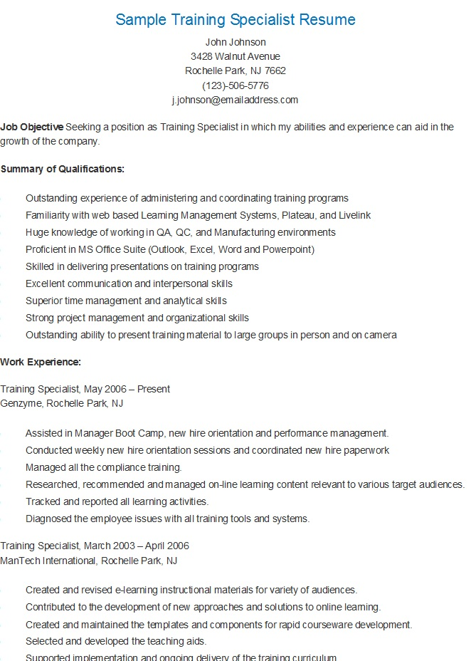 resume samples sample training specialist resume