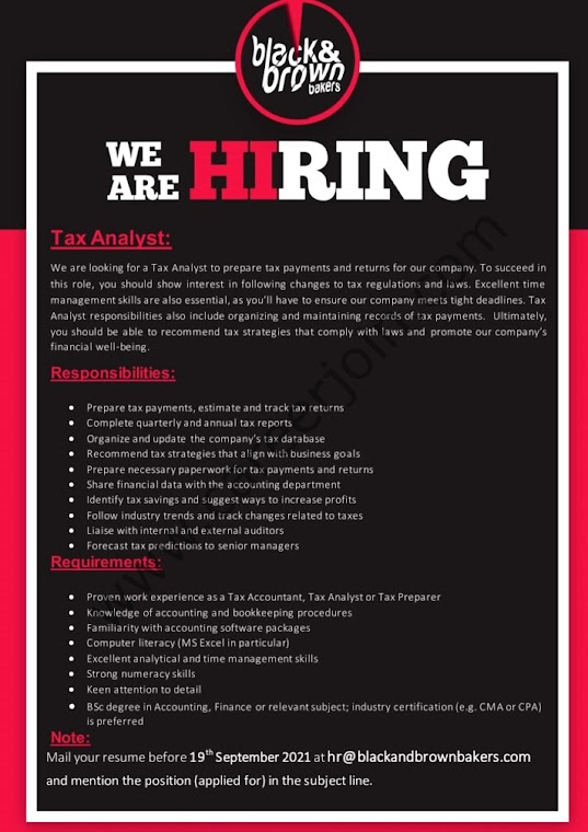 Black & Brown Bakers Latest Jobs For Tax Analyst 2021