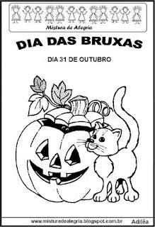 Dia das bruxas-gato para colorir