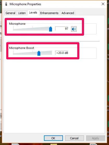 windows10 مستويات الميكروفون