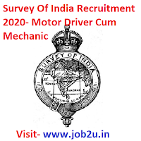 Survey Of India Recruitment 2020, Motor Driver Cum Mechanic