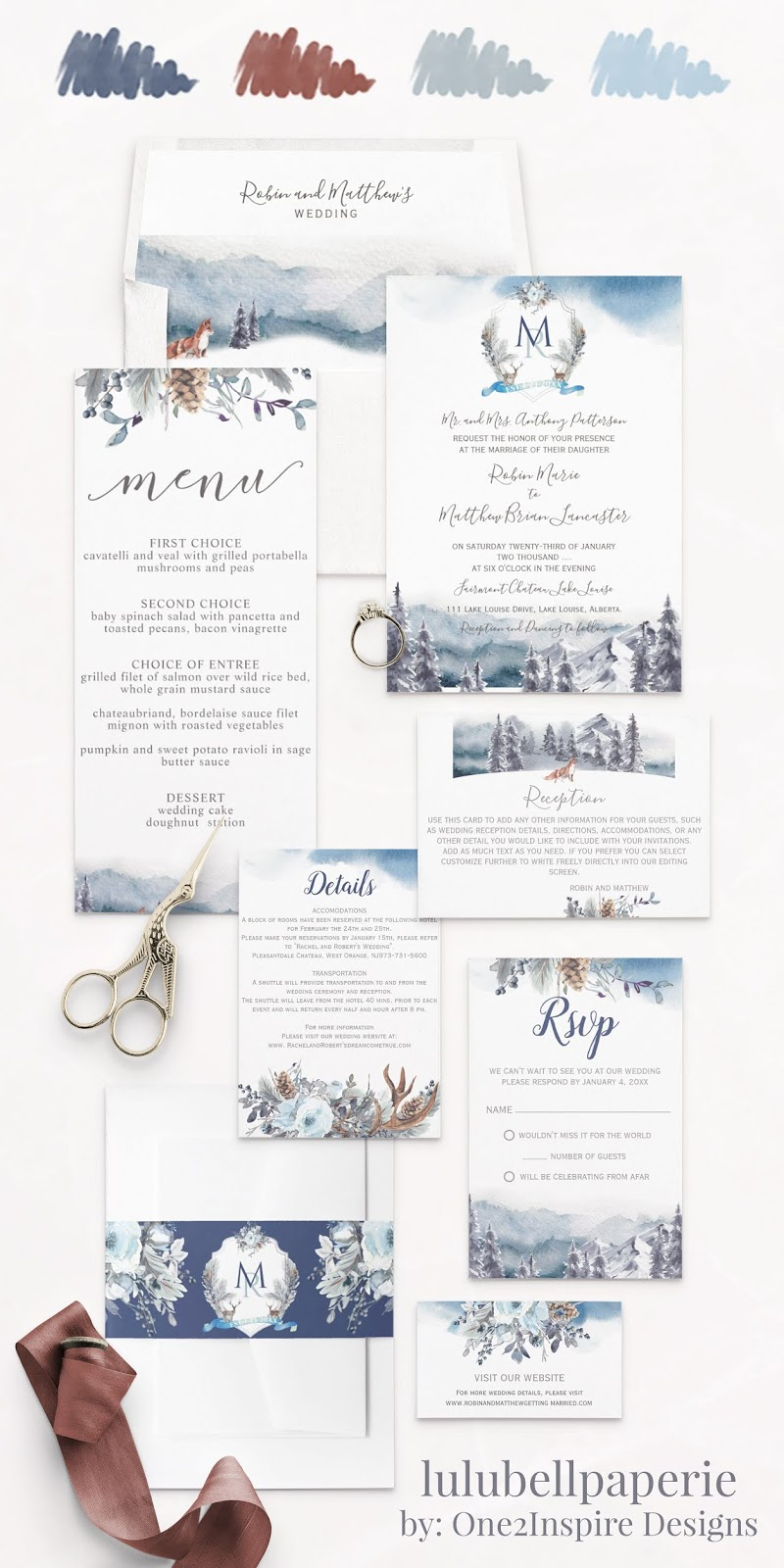Dusty Blue Cinnamon and Navy Rustic Mountain Wedding Invitation Suite - Envelope Liners, Wedding Invites, Menus, Reception Cards, Details Card, RSVP Cards, Belly Band Wraps, and Website Inserts